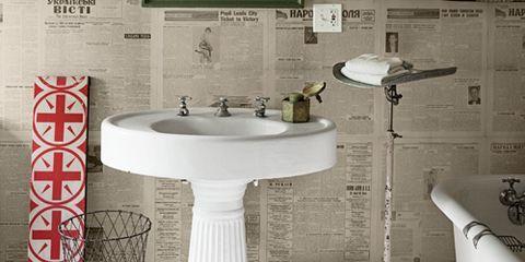 Plumbing fixture, Bathroom sink, Property, Room, Wall, Interior design, Tile, Sink, Bathroom accessory, Floor,
