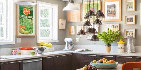 Furniture, Room, Kitchen, Countertop, Interior design, Table, Property, Cabinetry, Orange, Building,