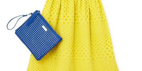 Blue, Yellow, Sleeve, Dress, Pattern, Textile, One-piece garment, Day dress, Fashion, Electric blue,