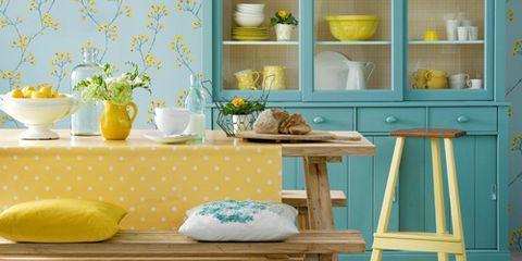 Yellow, Serveware, Room, Dishware, Turquoise, Teal, Interior design, Shelving, Aqua, Lampshade,
