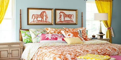 Room, Interior design, Yellow, Floor, Textile, Furniture, Flooring, Home, Wall, Linens,