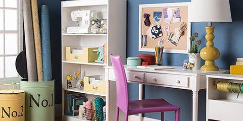 Room, Interior design, Floor, Drawer, Furniture, Lampshade, Flooring, Teal, Purple, Shelving,