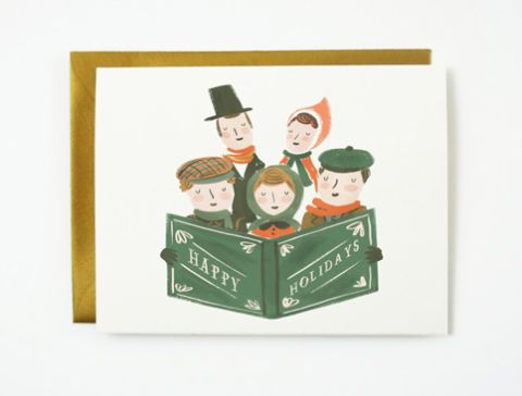 quill and fox carolers christmas card