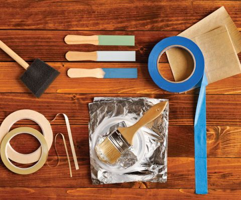 craft materials on a wood surface