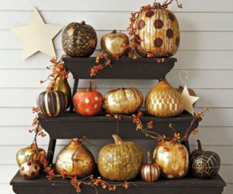 pumpkins on shelves outside
