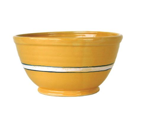 yellow bowl with white and blue stripe