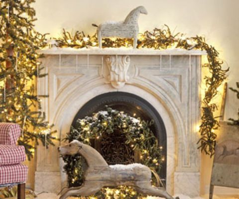 fireplace mantel with horses