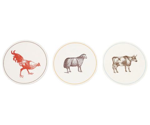 rooster sheep cow coasters
