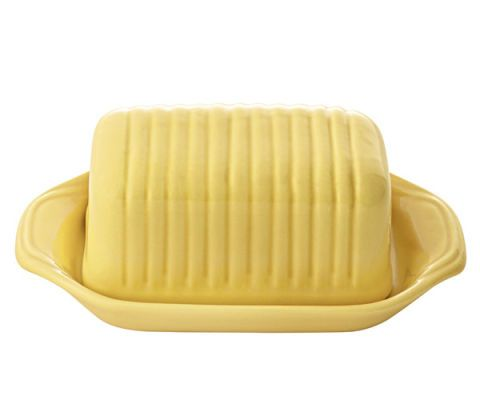 yellow bauer butter dish pottery