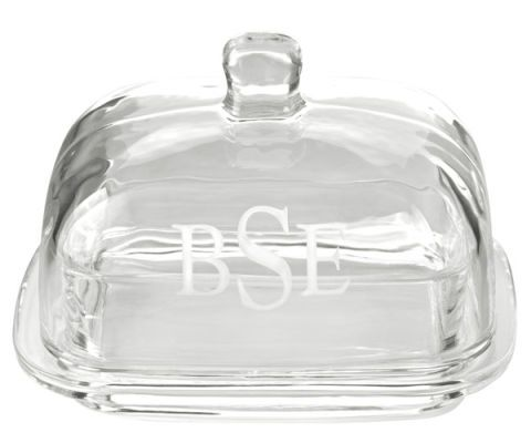 monogrammed clear glass butter dish