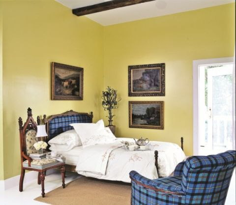 Yellow Bedroom With Blue Plaid Accents