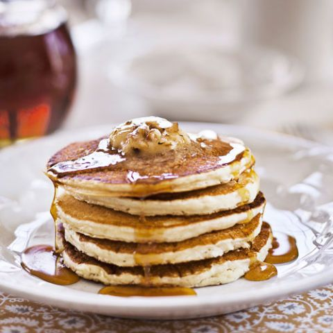 sour cream pancakes with maple pecan butter