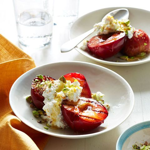 grilled plums with ricotta and honey