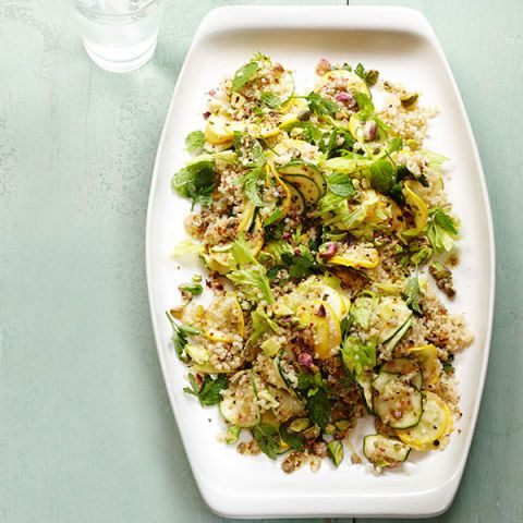 summer squash salad with herbs and quinoa