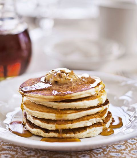 Sour-Cream Pancakes with Maple-Pecan Butter