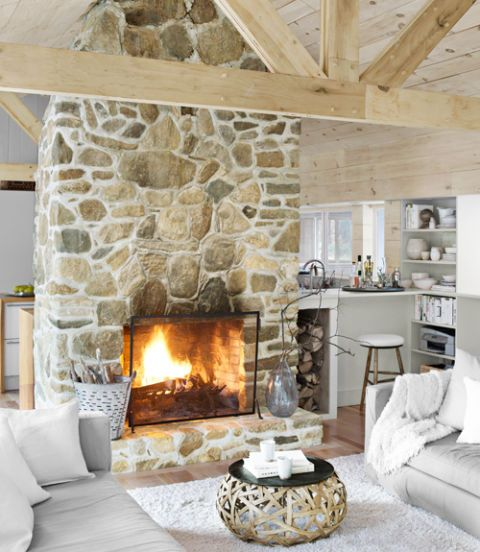 modern cabin hearth