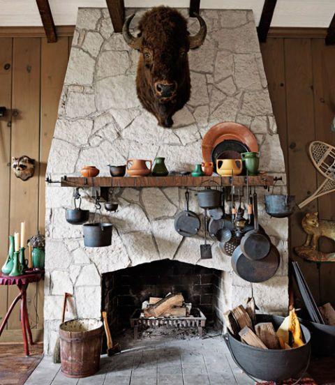 flagstone fireplace with buffalo head