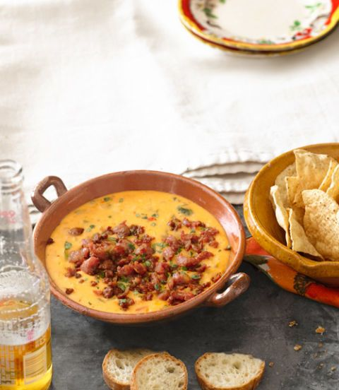 queso fundido with roasted poblano peppers and chorizo