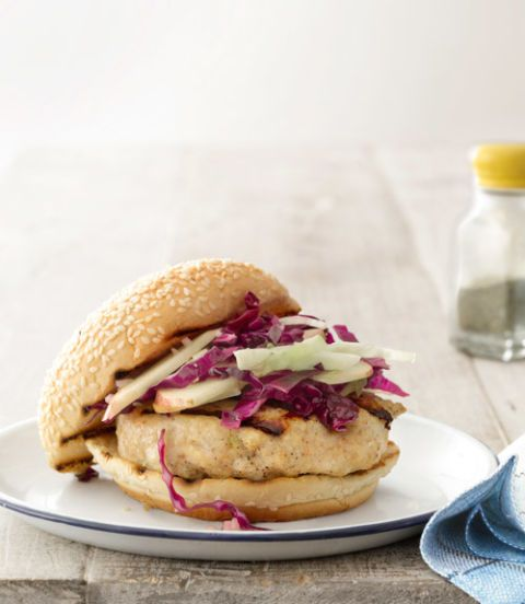 miso glazed chicken burgers with cabbage apple slaw