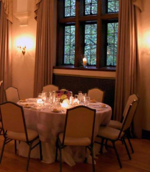 dining room with dimmed lighting