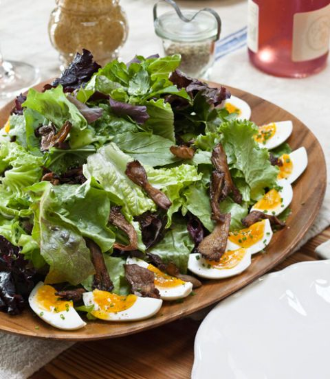 arugula and baby lettuce salad with soft boiled eggs and roasted oyster mushrooms