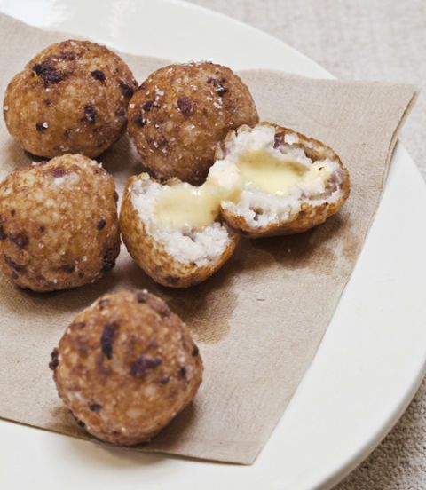 grits fritters with country ham and cheese