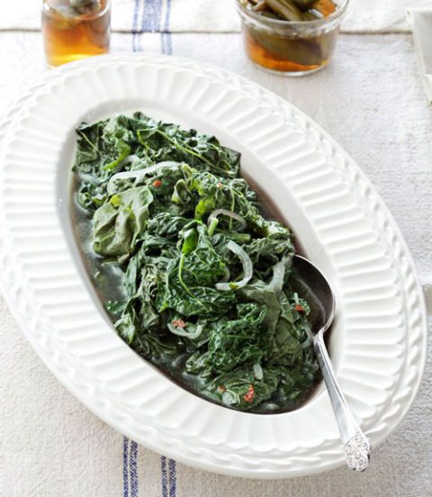 braised early spring greens