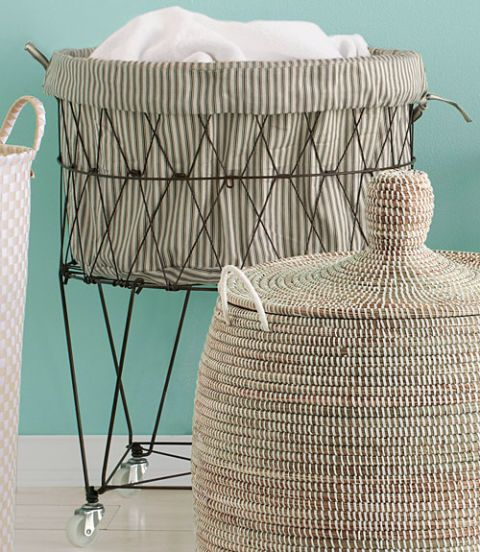 Teal, Wicker, Basket,