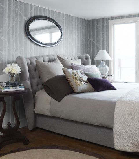Gray Bedroom With Upholstered Headboard