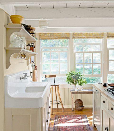 white farmhouse sink in kitchen