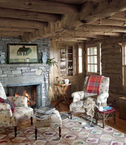 Cabin Hearth. Warm Living Room