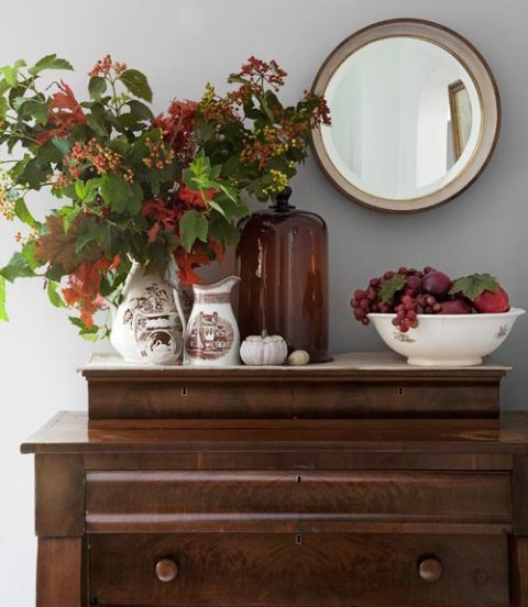 Wood, Flower, Sideboard, Drawer, Interior design, Chest of drawers, Dishware, Still life photography, Dresser, Artifact,