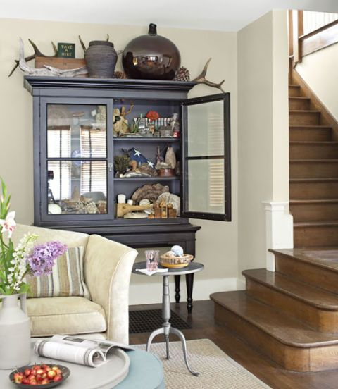 open cabinet in dining area