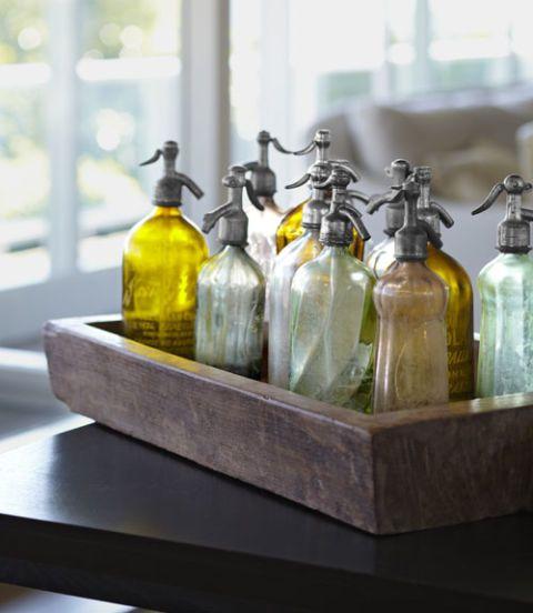 grouping of glass bottles