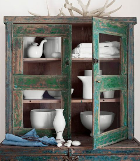 green antique china cabinet