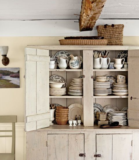 pottery inside cupboard