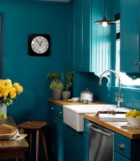 Teal Painted Kitchen with Farmhouse Sink