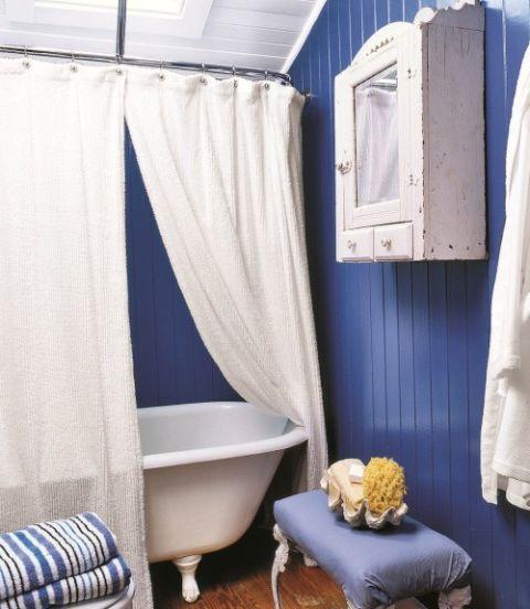 blue walls in a bathroom