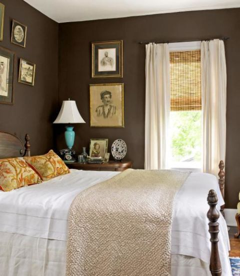 High Quality Bedroom With Brown Walls