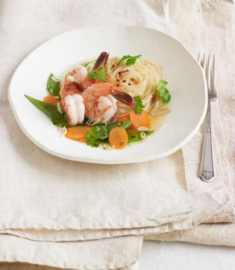 capellini and shrimp in lemongrass ginger broth