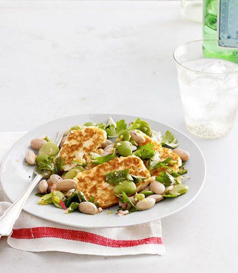 halloumi and shell bean salad