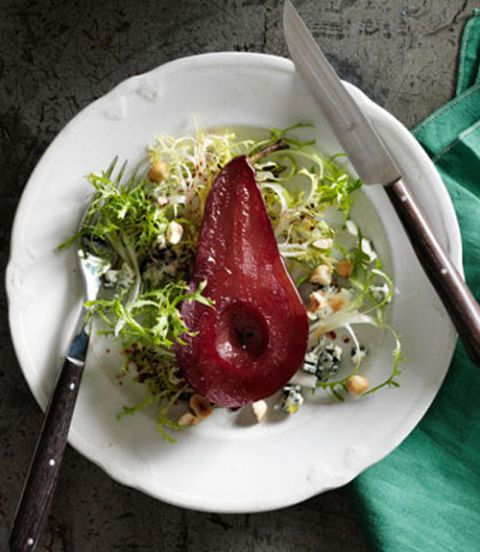 frisee salad with shiraz poached pears roquefort and hazelnuts