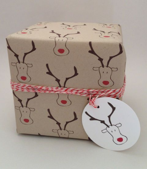 rudolph print wrapping paper