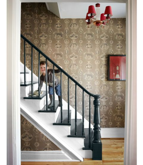 staircase with wallpaper