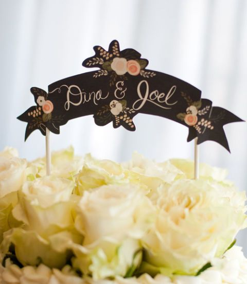 hand painted chalkboard wedding cake topper