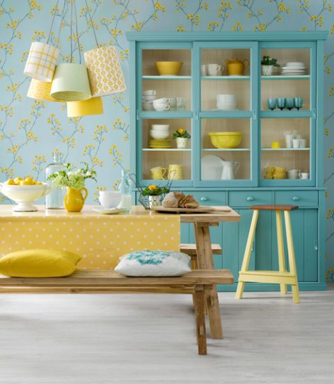 Yellow, Serveware, Room, Dishware, Turquoise, Teal, Interior design, Shelving, Aqua, Lampshade,