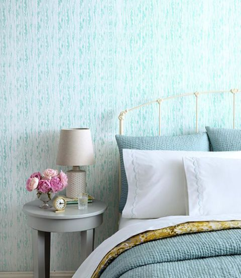 Room, Textile, Interior design, Wall, Furniture, Teal, Purple, Turquoise, Aqua, Lavender,