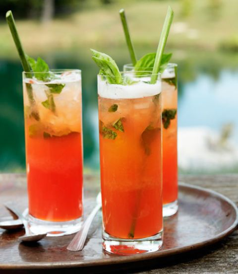 strawberry-basil bourbon lemonade