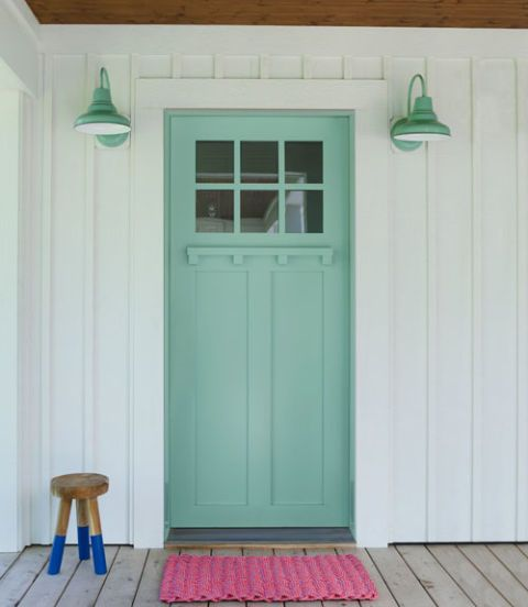 Wood, Green, Teal, Door, Home door, Floor, Flooring, Wall, Turquoise, Hardwood,