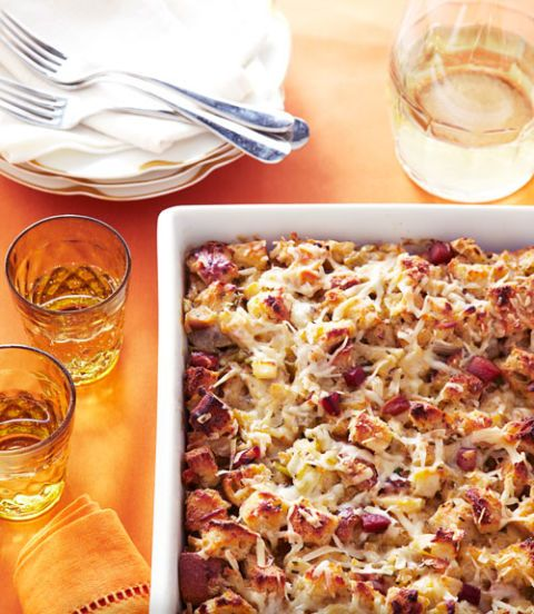 herb and apple stuffing bread pudding